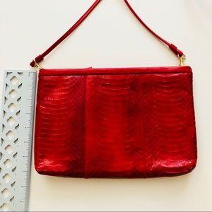 Vintage Bags - Genuine Snakeskin Red Leather Clutch / Sling Bag
